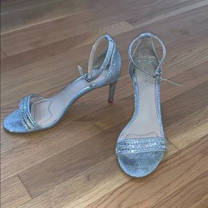 Kelly and Katie silver strap heels